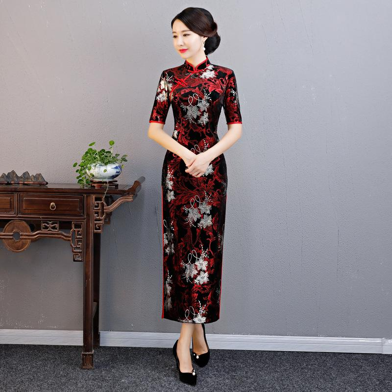 New Automne manches mi-longues velours Cheongsam Mesdames élégant Slim Fractionnement qipao Big Taille M-3XL Mandarin Collar Robe chinoise
