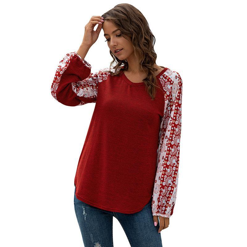 Weinlese-Druck-lose Laterne T-Shirt Frauen 2020 neuer Frühling-V-Ausschnitt Female T-Shirt Tops Art und Weise beiläufige Damen-T-Shirts