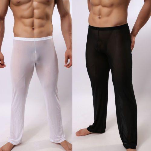 남성 섹시 시스루 폴리 아미드 섹시한 수면 바지 부드러운 라운지 잠옷 잠옷 남자 잠옷 관점 바지