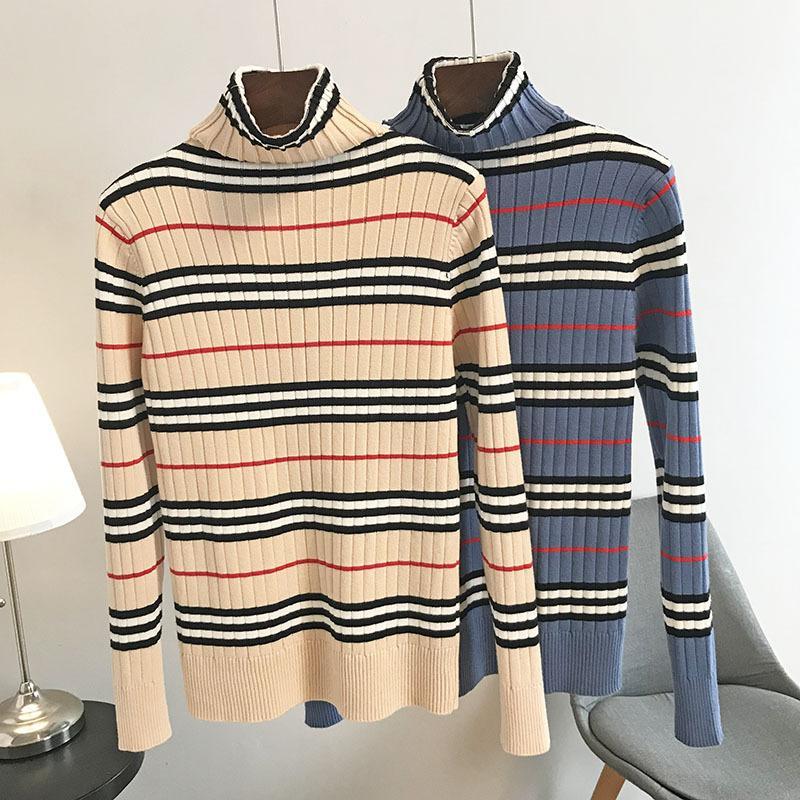 N14 2019 осень хаки / синий полосатый принт трикотажные пуловеры свитер с длинным рукавом круглый вырез Модные свитера OS19SPRPUC2440