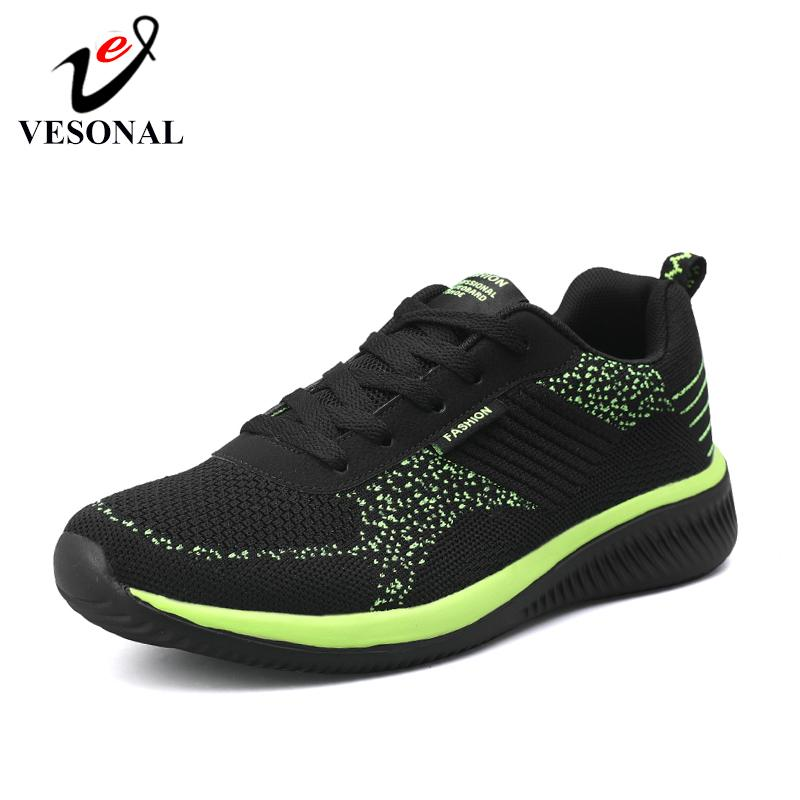 VESONAL Marka 2019 Yeni Nefes Rahat Mesh Erkekler Ayakkabı Casual Hafif Yürüyüş Erkek Sneakers Tenis Feminino Ayakkabı T200110