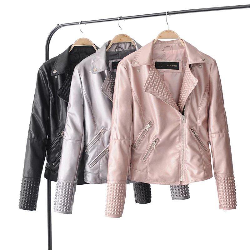 New jaqueta de couro curta Zipper Motorcycle Jacket Mulheres Jaquetas De Couro Feminina casacos 7WL010