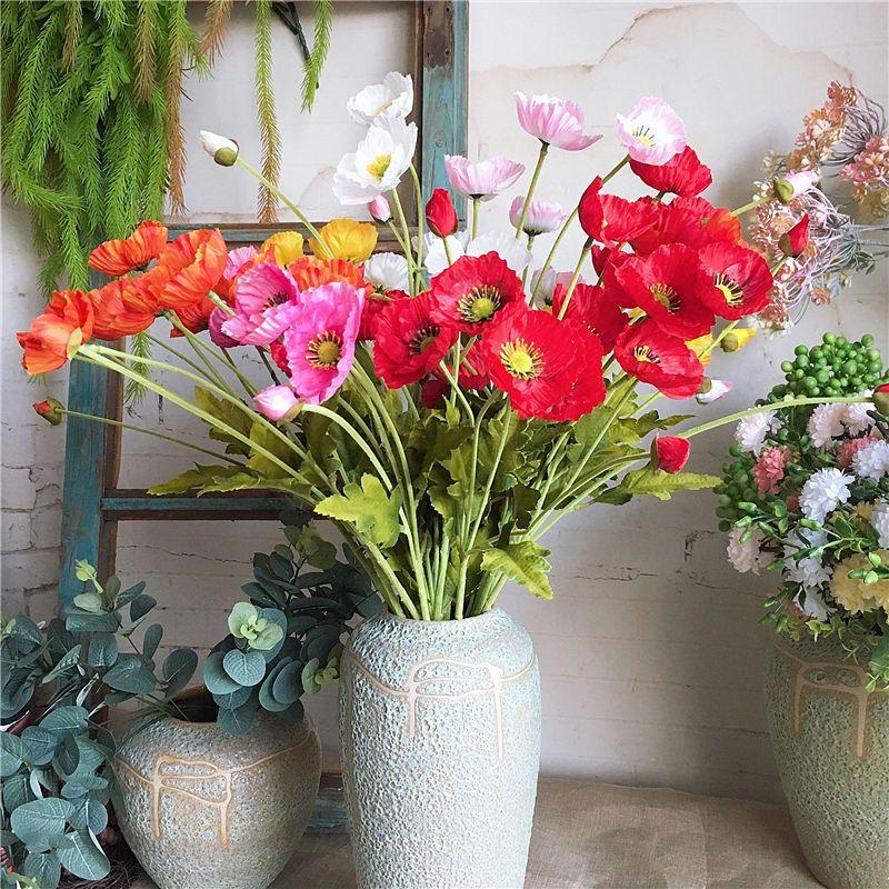 New garden decor Poppy flower silk Artificial flowers table arrange party Decoration flores s fleurs artificielles