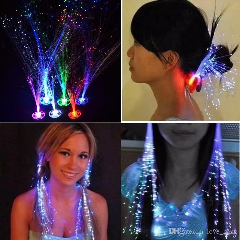 1200pcs 광섬유 크리스마스 할로윈 밤 불빛 장식에 의해 LED 머리 확장 플래시 묶어 파티 소녀 머리 빛 최대 빛나는 빛