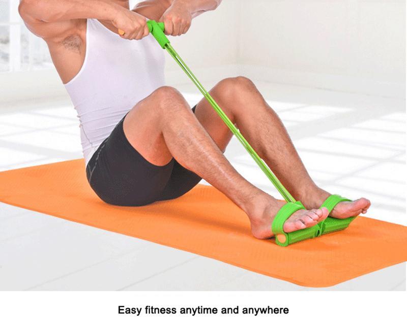 Fitness gomme 4 bandes de résistance Tube latex Exerciseur à pédales Assoyez-vous tirer la corde Expander bandes élastiques équipement de yoga Pilates Workout outil