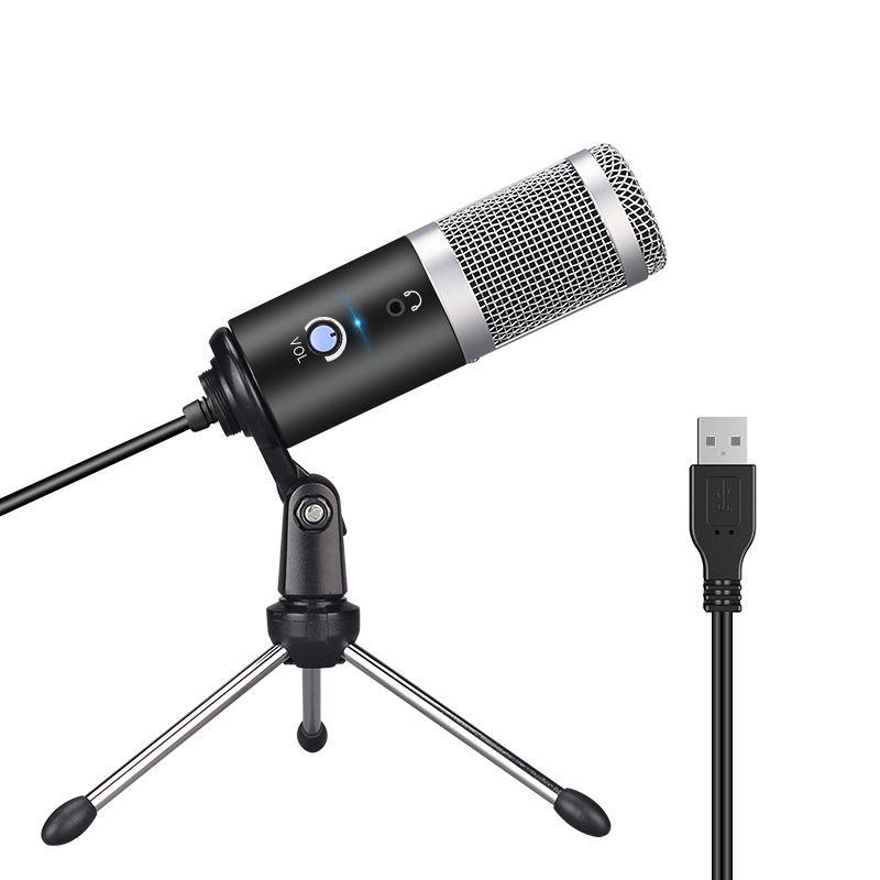 Profissional microfone condensador para computador portátil PC USB plug + suporte Estúdio Podcasting Gravação Microfone Karaoke Mic