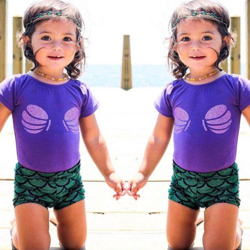Cute Baby Girl Mermaid Summer Clothes Set Kids Baby Girl 2Pcs Tops+Scale Shorts Toddler Infant Outfit Children Clothes Sunsuit