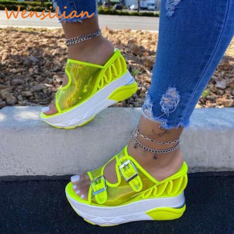 Yaz Sandalet Kadınlar 2020 Kadın Platformu Sandalet takozları Ayakkabı Temizle Sandles Kadınlar Terlik Sandels İçin Kadınlar Kadın Sandalias Y200620