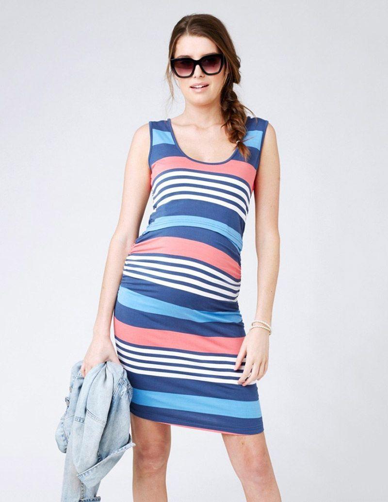 Women Stripe Pregnant Nursing Breastfeeding Loose Maternity Summer Vest Dress UK