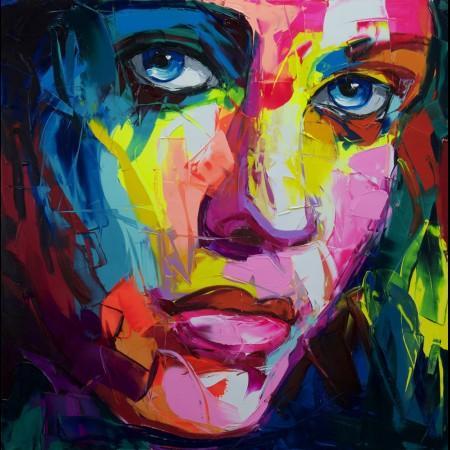 Francoise Nielly cuchillo de gama de impresión Inicio Obra de retrato hecho a mano pintura al óleo sobre lienzo cóncavas y convexas textura Face158