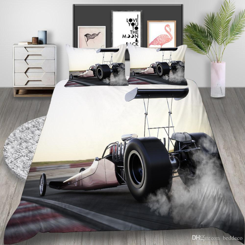 자동차 경주 침구 세트 더블 사이즈 유행 쿨 3D 소년 이불 커버 퀸 킹 트윈 전체 싱글 베개와 커버 침대
