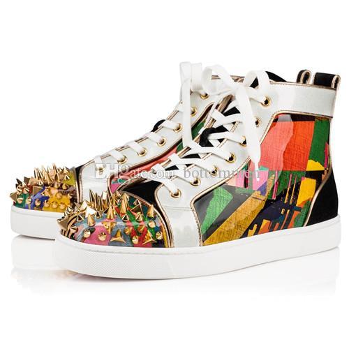Размер 36-46 Мужчина Женщина Glitter Graffiti краска кожа с Шипастым высоким Top Мода красной подошвой кроссовками, Unisex Brand New Повседневной обувью
