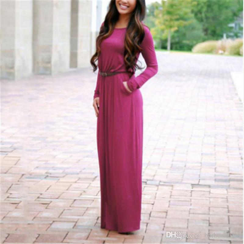 Manica lunga donne libere di modo signora maxi vestito lungo pavimento-lunghezza abiti eleganti donne di autunno vestiti casuali Maxi con la cinghia