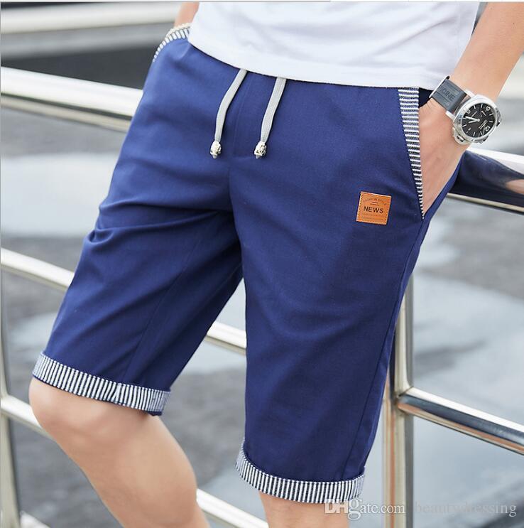 Short de haute qualité Linen Hommes Shorts Hommes Summer Casual Shorts Bermudes Drawstring plage court plus joggeurs Taille Homme