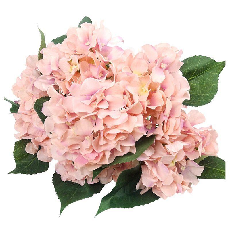 , 룸, 홈, 호텔, 파티 장식 및 크리스마스 선물 핑크 결혼식을위한 인공 꽃 실크는 7 빅 헤드 수국 꽃다발