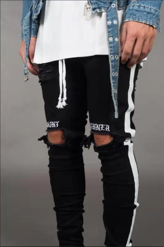 Nouveau Mens Designer Jeans Street Style Noir Trous Déchiré Blanc Rayures Jeans Hommes Hiphop Planche À Roulettes Crayon Pantalon