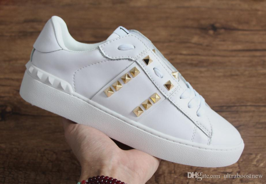 New women designer shoes with best quality luxury open sneaker white color gold stud star casual running shoes for man sale size 38-49