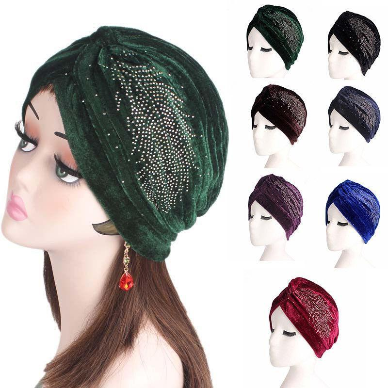 Frau Indian Style Velvet Beanie Skullies Muslim Hat Bandana Chemo Krebs Headwrap Kopftuch Rüschen Haarausfall Rhinestoned New