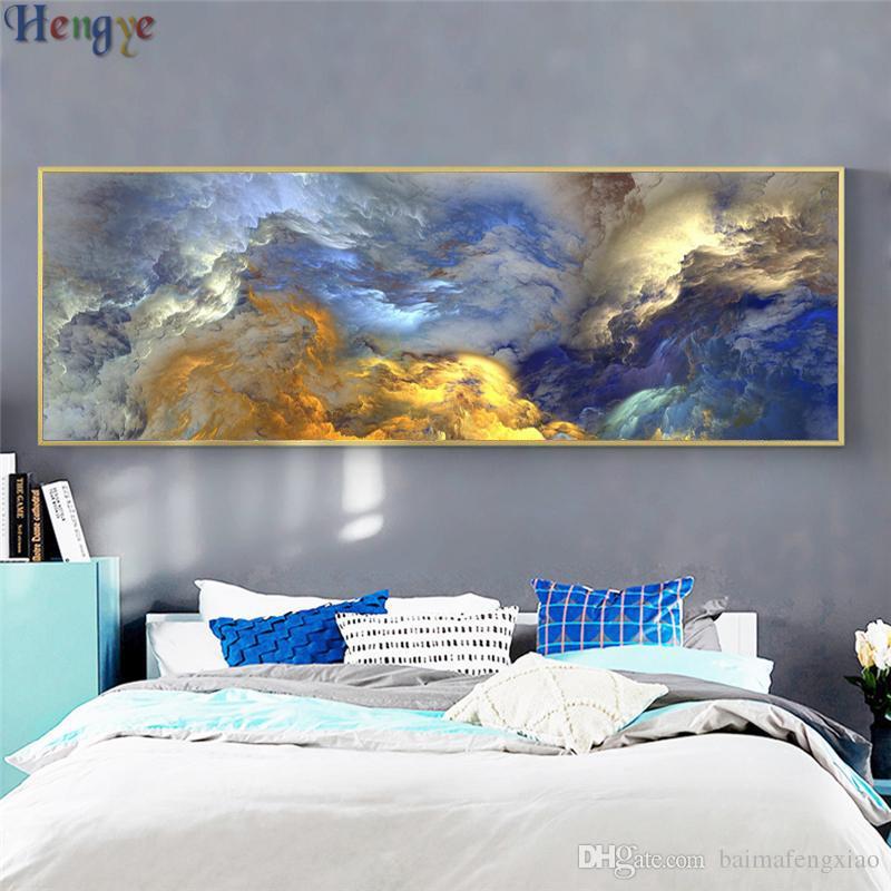 ZYXIAO paisagem abstrata nuvem de Pintura A Óleo sobre Tela de Arte Profissional Cartaz Sem Moldura Retrato Da Parede para Sala de estar Sofá Decoração de Casa ys0025