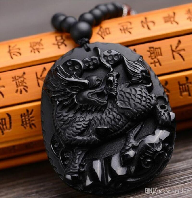 Colgante, collar de esmerilado Natural Obsidiana Flying Unicorn colgante, collar de Fu linci Rui hombre dominante de
