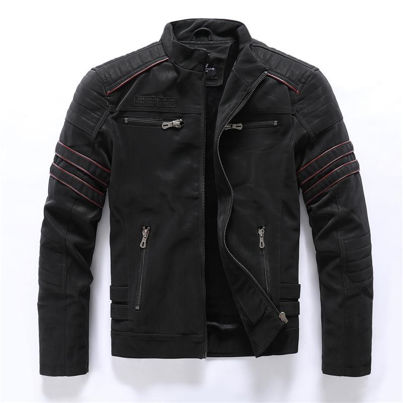 Herbst-Winter-Lederjacke der Männer beiläufige Art und Weise Stehkragen Motorradjacke Männer nehmen Qualitäts-PU-Leder-Mäntel freies Verschiffen