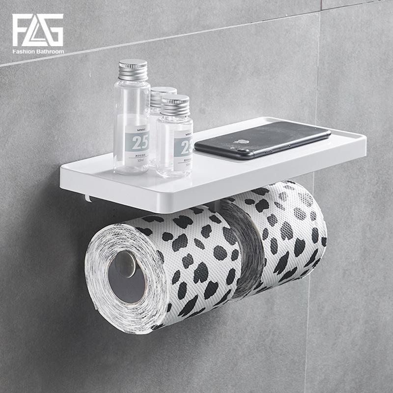 FLG pared soporte de papel higiénico montado doble de acero inoxidable Ganchos Rolls solo gancho del sostenedor del soporte de pared de baños ABS blanco Estante
