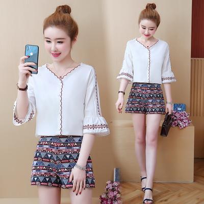 Geometric Mulheres Two Piece roupas de verão Impressão Define curto para mulher Produtos a condizer Ensemble Femme 2 Parte das mulheres Outfits