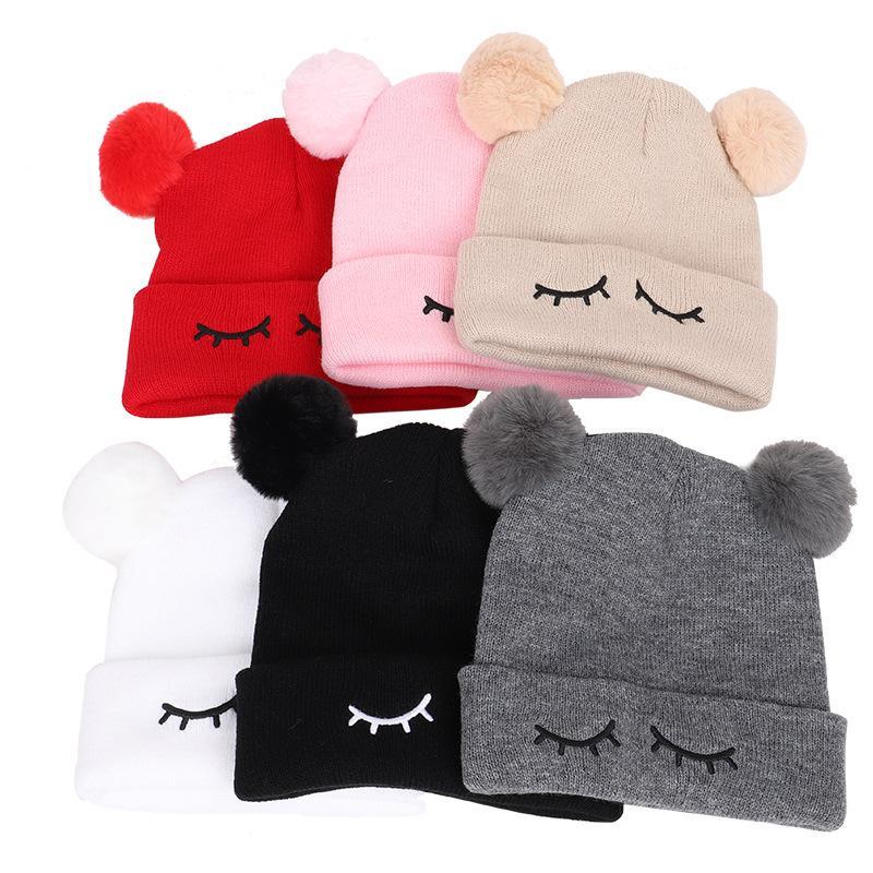 Nouveaux chapeaux d'hiver pour bébé Bonnet Enfants Enfants Garçons Filles doux Cap mignon broderie tricot Caps chaud