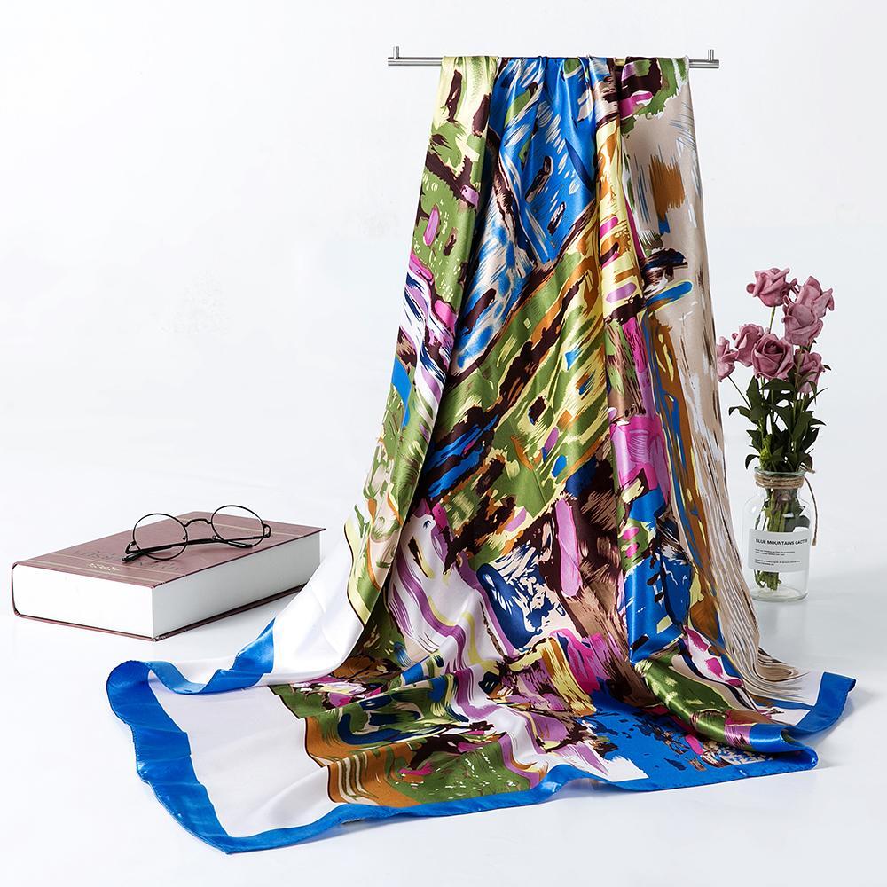 Гог картины шелковый шарф женщина атласная площадь Scaves мода мусульманские путешествия головной платок шарфы для волос S9A9141