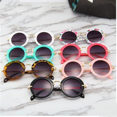 Дети Cолнцезащитные очки Мода Круглый Дети очки лето металлический каркас UV400 Защитные очки Детский пляж путешествия вождения очки ZYQ188
