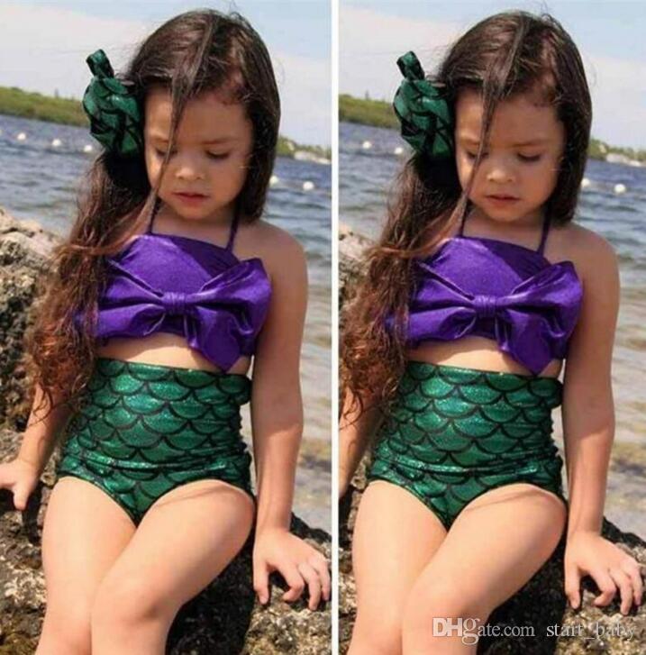 الفتيات ملابس السباحة حورية البحر الذيول بيكيني القيعان مقياس السمك BOWKNOT من قطعة واحدة اثنين من قطعة بدلة الاطفال بيكيني اللباس الأطفال حلي B112
