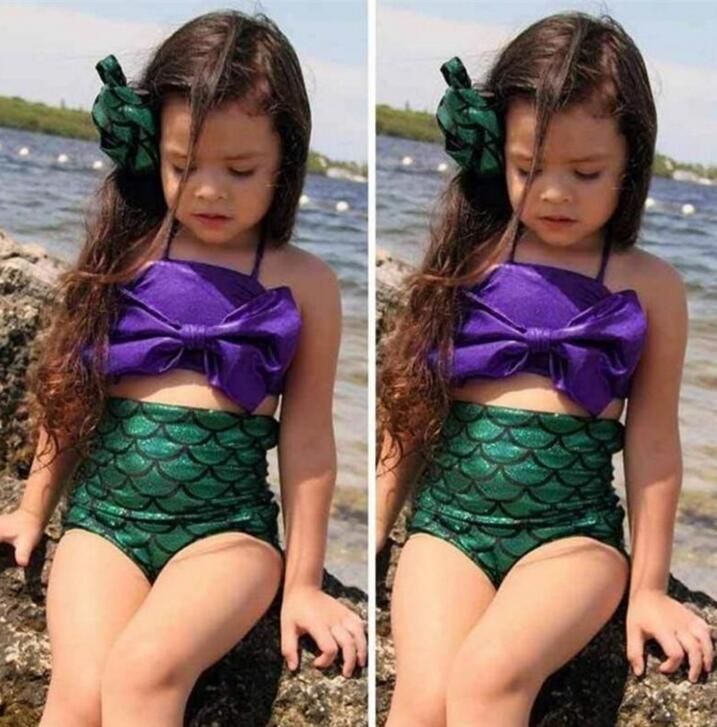 Girls Swimsuit Mermaid Tails Bikini Bottoms Fish Scale Bowknot One-piece Two-piece Suit Kids Bikini Dress Children Costume B112