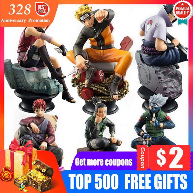 6 unids / set Figuras de Acción Muñecas de Ajedrez Nuevo Pvc Anime Naruto Sasuke Gaara Modelo Figuras Para Decoración Colección Juguetes de Regalo C19041501