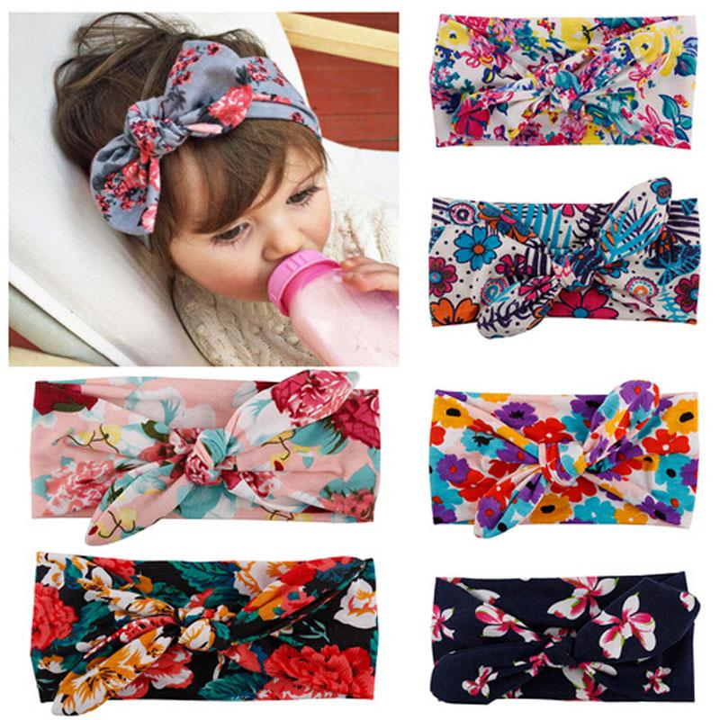 2019 New Sweet Baby Girl Newborn Kids Girls Baby Print Headband Toddler Cute Bow Flower Hair Band Accessories