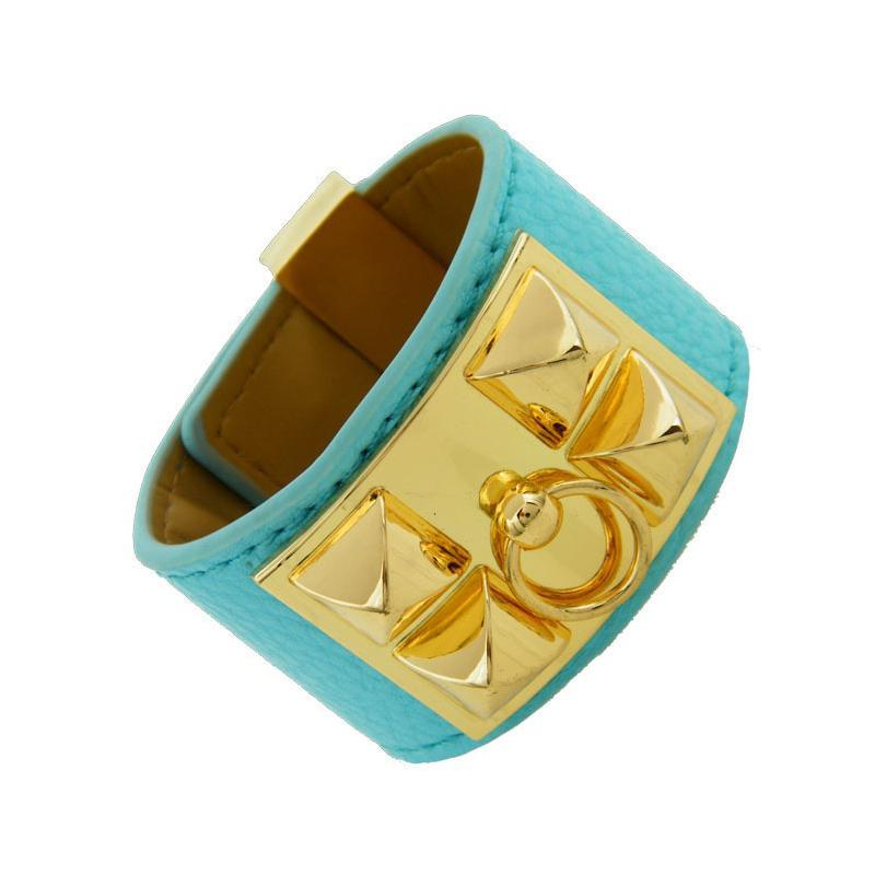 2020 nuova lega di modo punk grandi rivetti bracciali H per le donne cuoio dell'unità di elaborazione della pelle bracciale braccialetto versione larga all'ingrosso braccialetti d'oro gioielli
