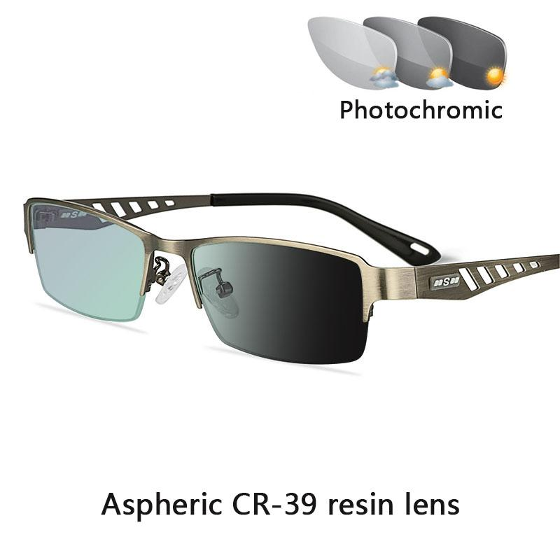 Sun Business Men's Transition PhotoChromic Reading Diopters Men Glasses Hyperopia النساء Presbyopia +2.0 +0.25 +1.0 +1.5 Glass Swqf