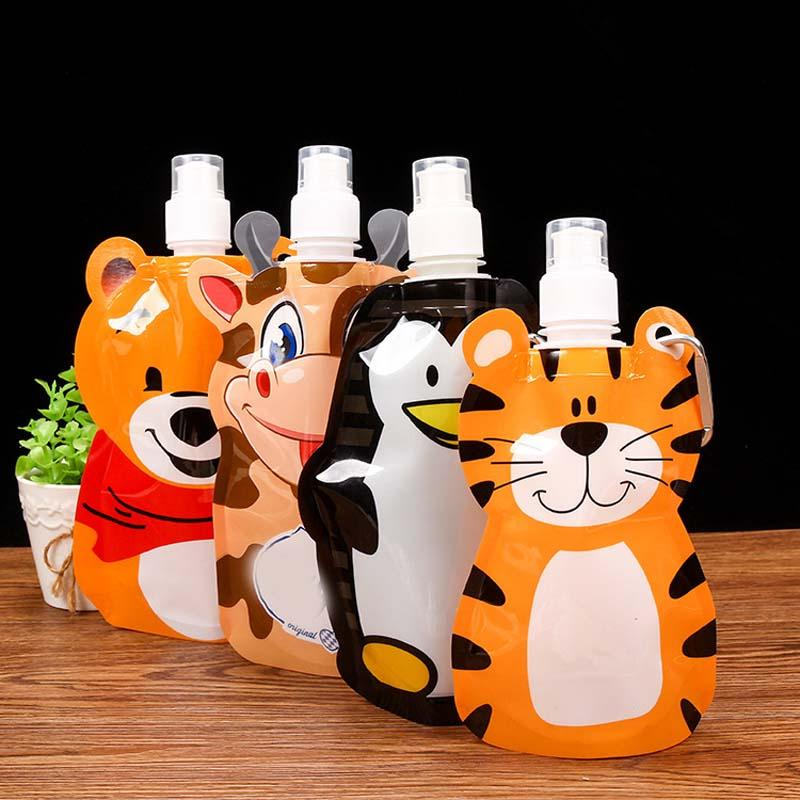 Portable Eco Friendly Foldable Cartoon Animal Water Bag Kid Travel Drink Bottle#