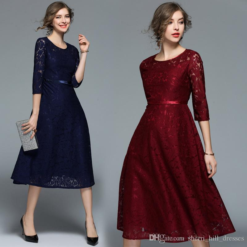 Custom Made Dark Navy Blue Modest A Line Short Mother Of The Bride Dresses Lace Tea Length Vintage Half Sleeve Party Gowns DH6260