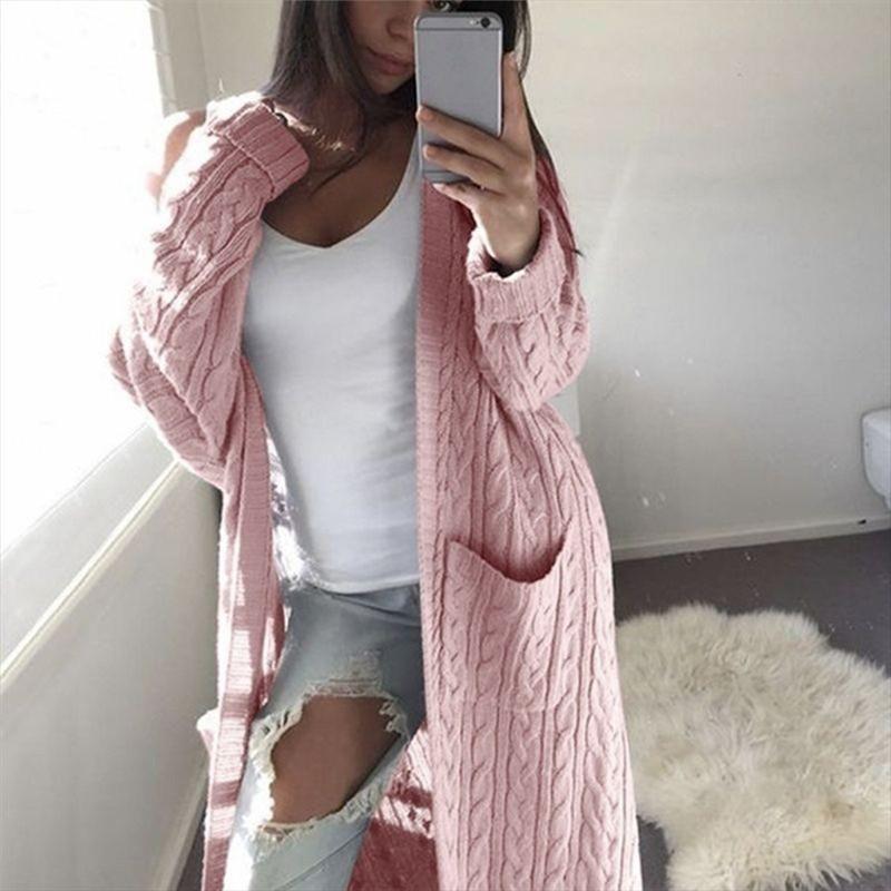 Женские шерстяной свитер женской зимней одежды длинных рукава случайного свободный вязать свитер