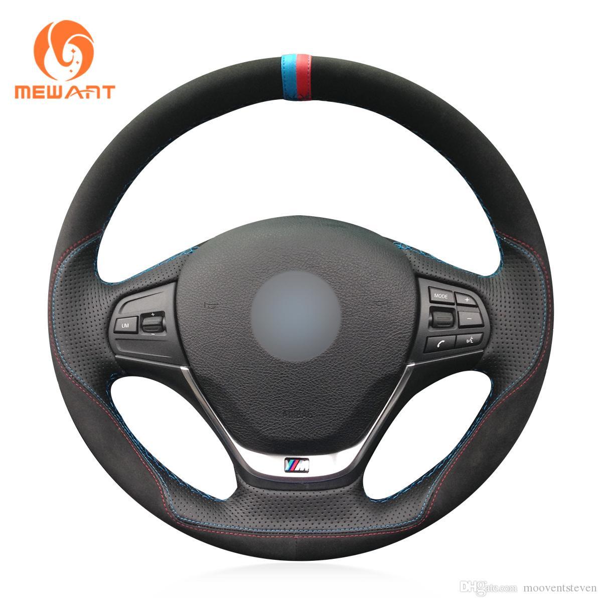 MEWANT Черный Искусственный кожаный руль Suede автомобилей Обложка колеса для BMW F30 316i 320i 328i