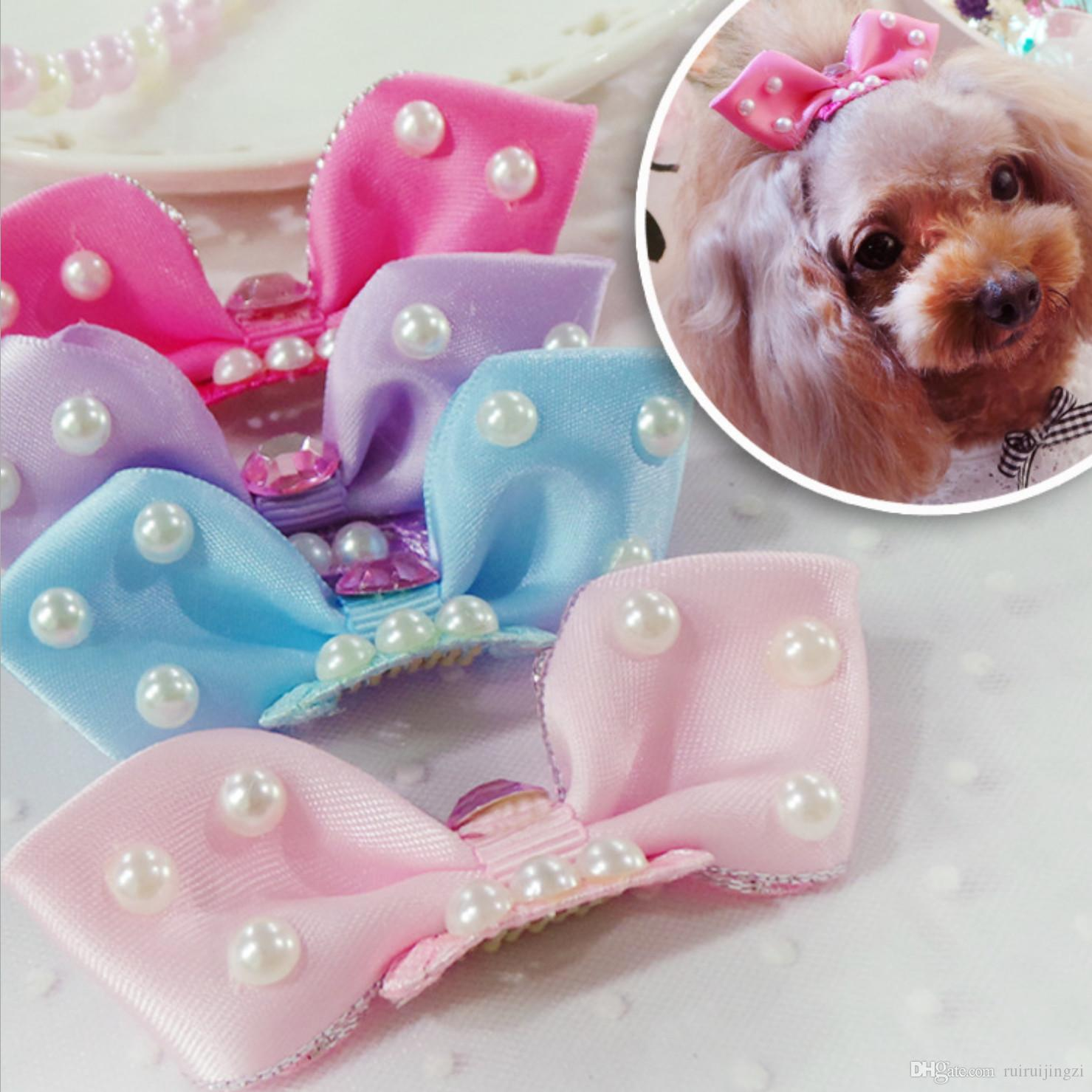 Pet Dog Comb Hairpin BB Hair Clips Handmade big bow pearl hair accessories cut Grooming Hair Accessories 20PCS/LOT