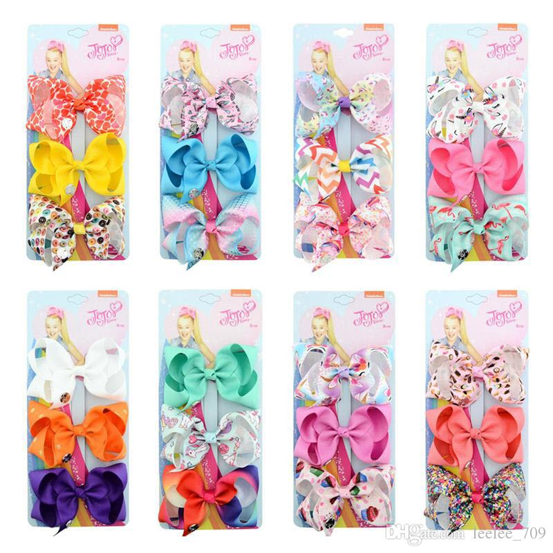 JOJO Girls Bow Hair Clips 4.3inch 3 Color One Card Kids Bow Card Hairpin Solid Color Floral Animal Style Baby Hair Accessories Set A377