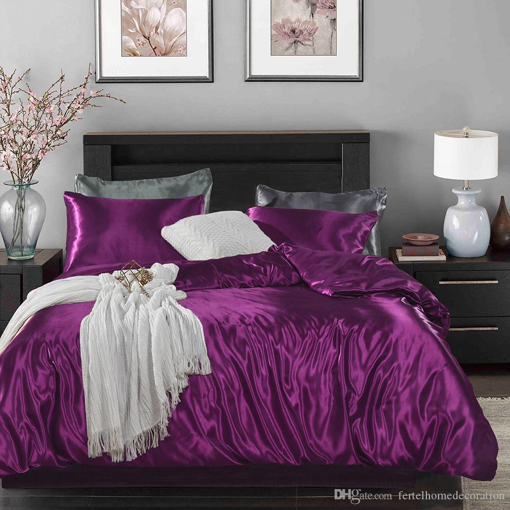 M19009 Satin Silk Solid Color Bedding Set Quality Home Textile Queen King Size Bed Set Cool Summer Pink Bedclothes Duvet Cover Flat Sheet