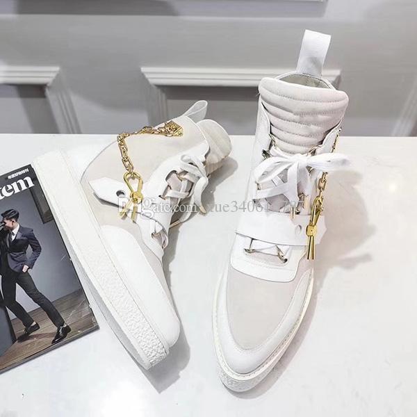 Новое прибытие размер 2019 CREEPER ботильоны Женщины Мужчины Последние ботинки дизайнер Золотой цепной реакции кроссовки украшения 35-45 для модели любителей