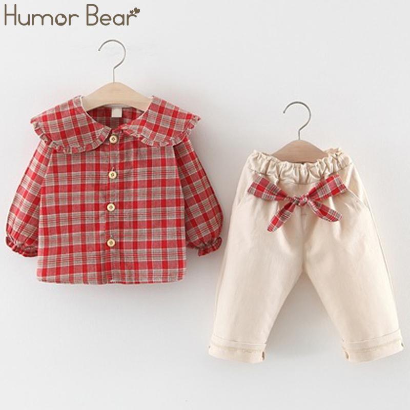 Юмор Медведь 2019 Новая Детская одежда Набор девочек рубашка + кальсоны 2pcs одежды для девушки Симпатичные Wear Fall костюм девушки малыша Одежда T200526