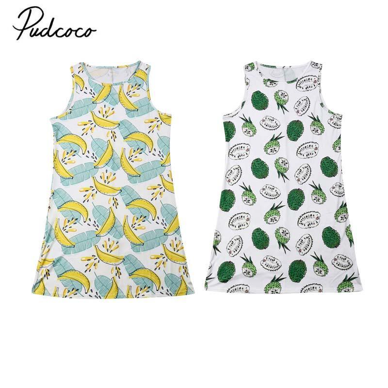 2019 Markenfamilie Mutter-Tochter-Matching-Sommer-beiläufige Kleid-Kleidung Outfit Top Blatt-Druck-Sleeveless Sundress New 2-12 lat