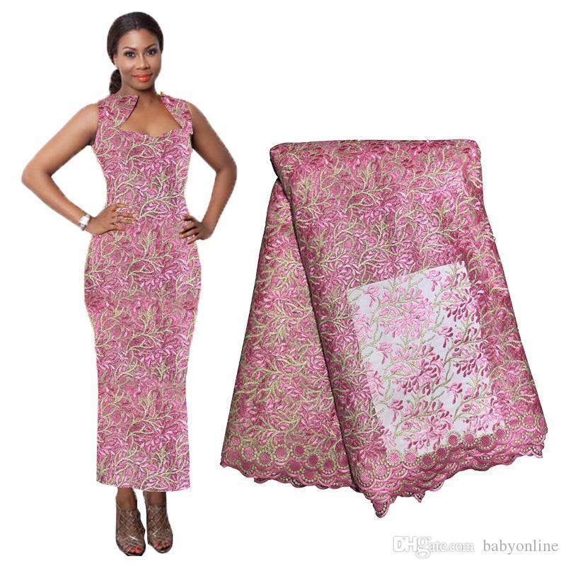 Material do laço africano Para Vestidos frisada Lace Fabric do casamento da noite de materiais Francês Fabric Lace 2020 de alta qualidade pano BF0029