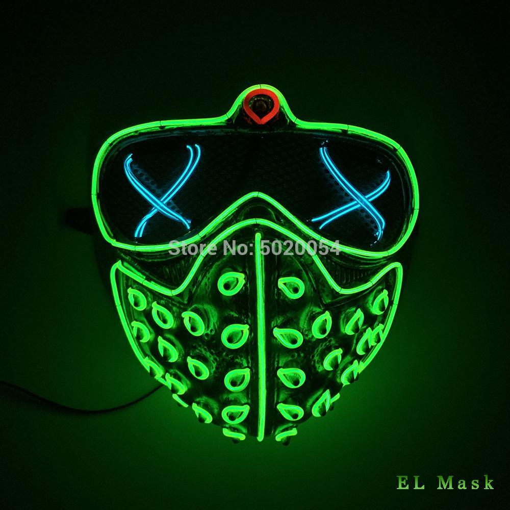 Di alta qualità Giorni Led Rave maschere incandescente partito EL Maschera di Halloween Cosplay-Props Watch Dogs Mask T200509 regalo degli uomini