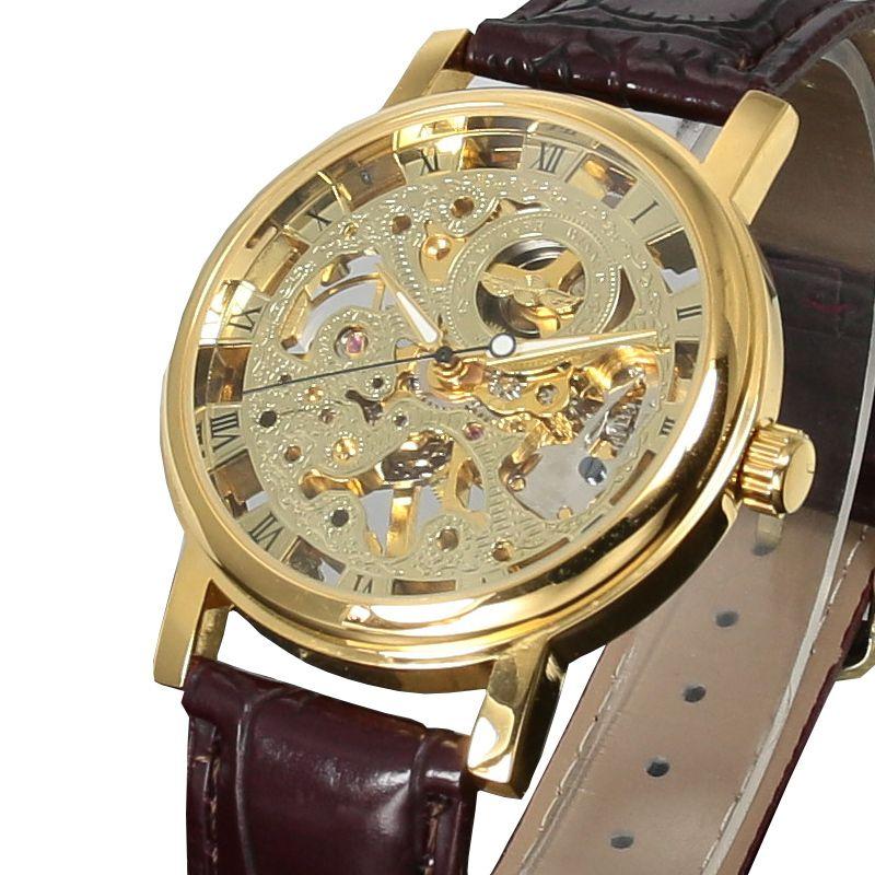 Top Brand Winner Luxury Fashion Casual Stainless Steel Men Mechanical Watch Skeleton Hand Wind Watch For Men Dress Wristwatch J190614