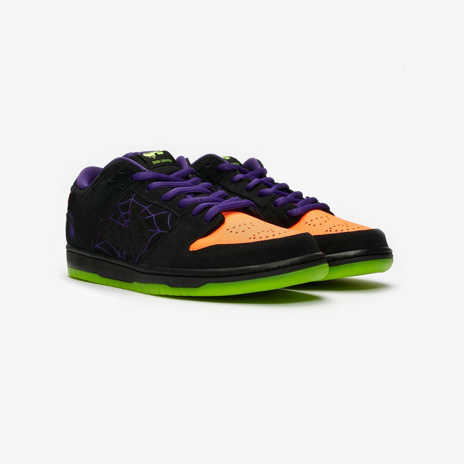 6817 006 Подлинный Sb Dunk Низкая Ночь Озорства Bq-Черный Оранжевый Фиолетовый Электрический Зеленый Хэллоуин Работает Спортивные Кроссовки Оригиналы Новый